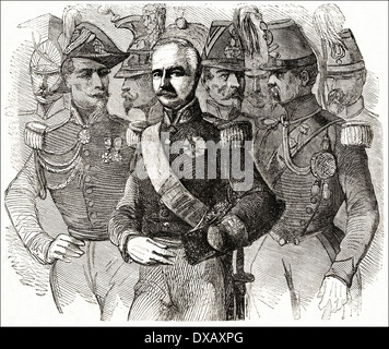 General Louis-Achille Baraguey D'Hilliers French Minister at Constantinople with his staff during the Crimean War. - Stock Photo