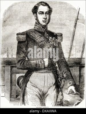 Portrait of Admiral Ferdinand Alphonso Hamelin Commander-in-Chief of the French fleet during the Crimean War. Victorian - Stock Photo