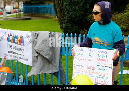Dublin, Ireland. 22nd March 2014. An activist is pictured. Activists from different organisations joined in the - Stock Photo