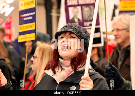 Glasgow, Scotland, UK. 22 March 2014.  Anti Racism march and demonstration held in George Square, Glasgow, Scotland, - Stock Photo
