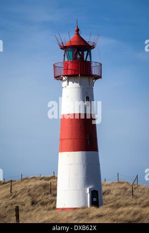 lighthouse ostfeuer near list on the island of sylt, germany - Stock Photo