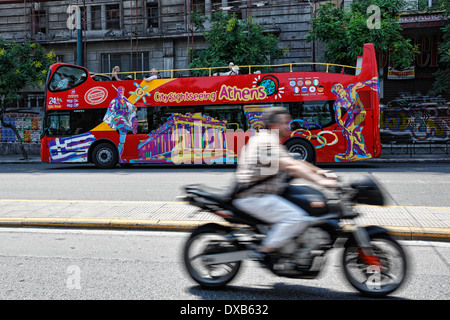 The tour bus for the sightseeing of Athens, Greece - Stock Photo