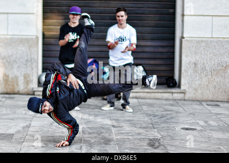 Breakdancers in the streets of Athens, Greece - Stock Photo