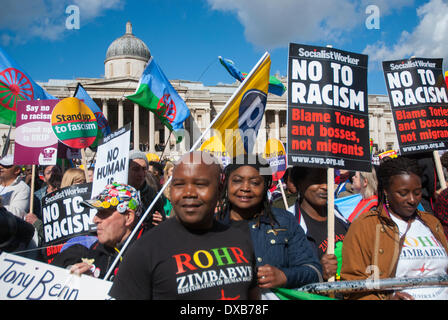 London, UK. 22nd March 2014. People gather in London's Trafalgar Square for an Anti-Racism rally. Credit:  Peter - Stock Photo