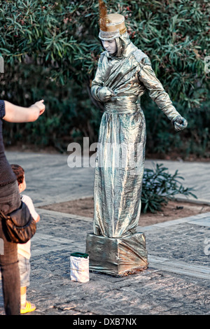 A mime performs in the street of Athens, Greece - Stock Photo
