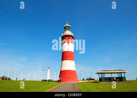 Smeatons Tower on Plymouth Hoe in Devon, UK - Stock Photo