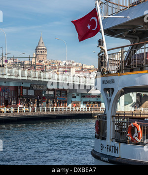 View from Eminonu across the Golden Horn to the Galata bridge with Galata tower and Beyoglu on the Istanbul skyline, - Stock Photo
