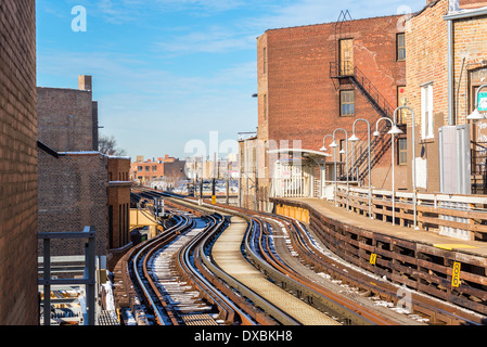 Tracks for the elevated train mass transit system in Chicago - Stock Photo