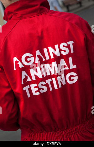 Campaigner against Animal Testing, Vegetarianism in York City centre, England, UK - Stock Photo