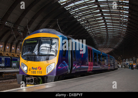 Firstgroup trains TPE; The Class 185 is a diesel multiple-unit passenger train First TransPennine Express, York - Stock Photo