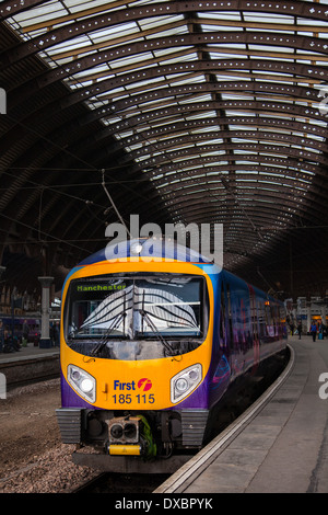 FirstGroup British train operating company.  Class 185 is a diesel multiple-unit passenger train First TransPennine - Stock Photo