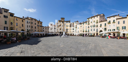 The Amphitheatre, in Lucca, Tuscany, Italy - Stock Photo