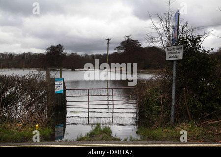 River Meon flooding in Titchfield, Hampshire, England - February 2014 - Stock Photo