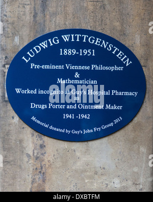 Ludwig Wittgenstein Blue Plaque Guy's Campus KCL King's College London, UK - Stock Photo