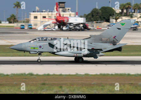 Royal Air Force Panavia Tornado GR4 tactical bomber on arrival in Malta - Stock Photo