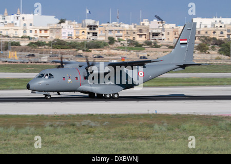 Airbus Military CN235 light transport plane on arrival in Malta during its delivery flight to the Yemeni Air Force - Stock Photo