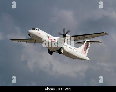 Short haul air travel. Tunisair Express ATR 72-500 turboprop regional airliner taking off - Stock Photo