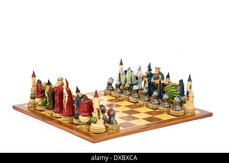 Luxury 'King Arthur' themed chess set by Connoisseur Games - Stock Photo