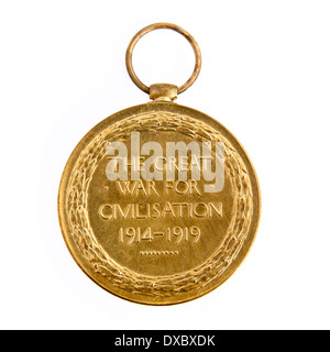 British Empire WW1 Victory Medal 'The Great War for Civilisation 1914-1919' (Reverse side). - Stock Photo