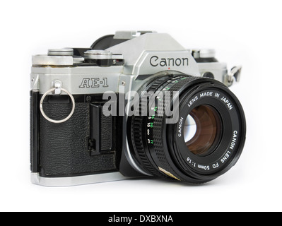 1970's Canon AE-1 vintage 35mm SLR film camera with FD 50mm f/1.8 manual focus lens - Stock Photo