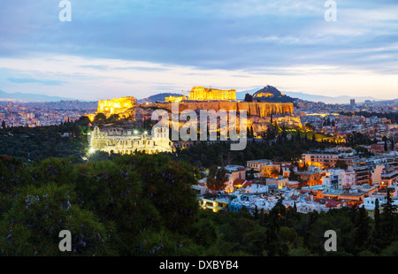Panorama of Athens with Acropolis in Athens, Greece in the evening after sunset - Stock Photo