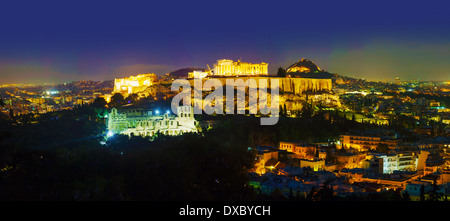Scenic overview of Athens with Acropolis in the night - Stock Photo