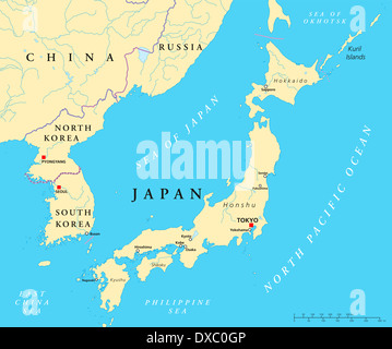 Political map of Japan, North Korea and South Korea with the capitals Tokyo, Pyongyang and Seoul - Stock Photo