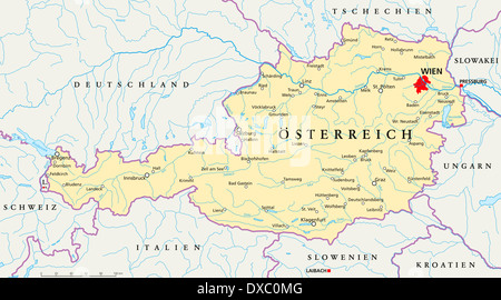 Vienna austria danube map atlas map of the world travel stock political map of austria with the capital vienna national borders most important cities gumiabroncs Choice Image