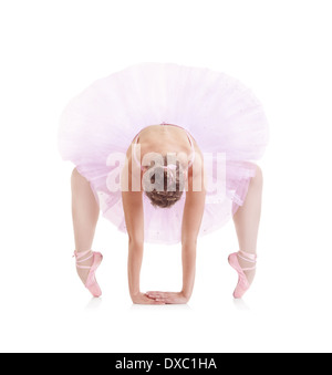 beautiful ballerina in classical pink tutu on a white background - Stock Photo