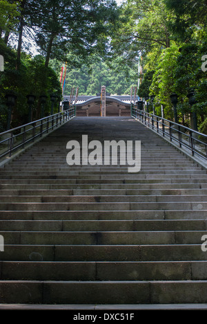 Stone staircase to a temple in Kanagawa Prefecture, Japan - Stock Photo