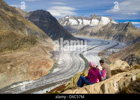 Aletsch Glacier, Valais, Swiss Alps, Switzerland, Europe - Stock Photo