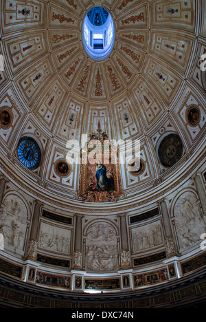 Dome in the Sala Capitular, Seville cathedral, Spain, Europe with Immaculate Conception by Murillo - Stock Photo