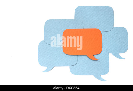 Different opinion concept, paper dialog boxes over white - Stock Photo
