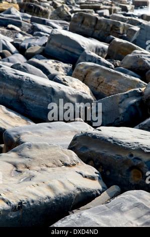 Rocky beach at Kimmeridge bay, Dorset, UK, taken on fine spring day - Stock Photo