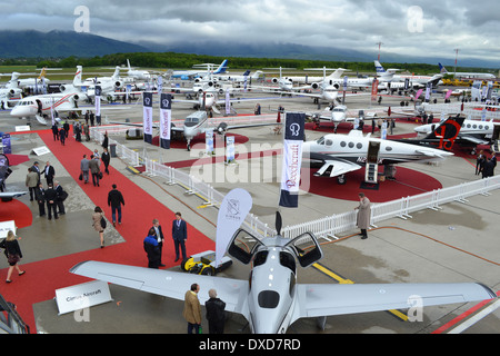 Aircraft at the 2013 Ebace exhibition at Geneva International Airport, Switzerland. - Stock Photo