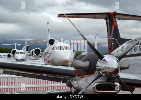 Business aircraft on the static park at the 2013 Ebace show, Geneva - Stock Photo