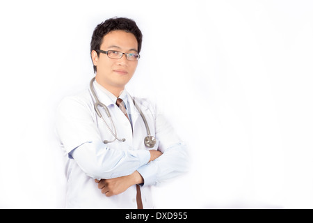 Portrait of smiling doctor on isolated - Stock Photo