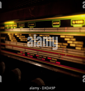 Tuning dial of vintage radio - Stock Photo