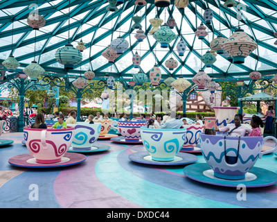 Mad Hatter's Tea Cup Ride at Disneyland Paris, France - Stock Photo