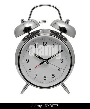 Traditional chrome metal Alarm Clock with bells and ringer on top to awaken you from sleep in the morning