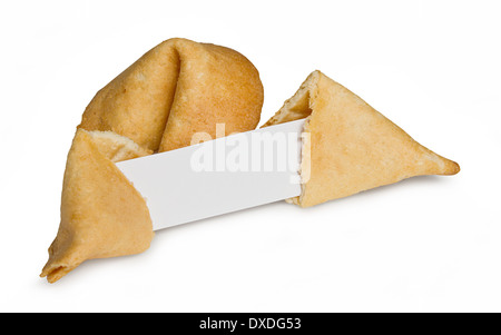 Chinese fortune cookie with blank paper strip for your own good luck message - Stock Photo