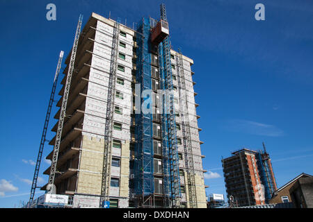Manchester, UK.  24th March, 2014. Rowlinson Construction, using Tyvek insulation materials, Construction boom near - Stock Photo