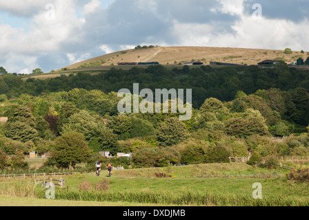 Cyclists on the South Downs Way close to the River Arun  in the South Downs National Park. - Stock Photo