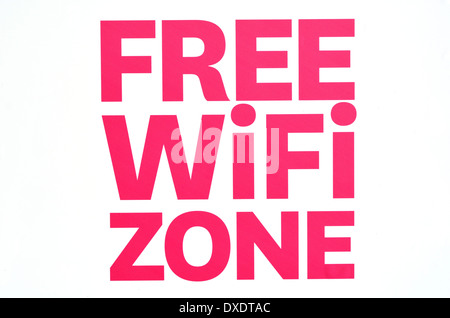 Free WiFi zone wireless internet sign isolated on white background. - Stock Photo