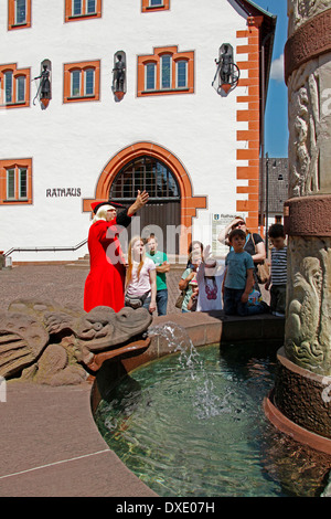 Town hall, fountain of fairy tales, city guide, tourists, Steinau an der Strasse, district Main-Kinzig-Kreis, Hesse, - Stock Photo