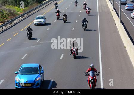Motorcycles on highway, Israel - Stock Photo