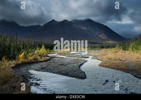 Quill Creek & the Auriol Range, St Elias Mountains, Yukon Territories, Canada - Stock Photo