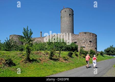 Castle Munzenberg built in 12th century by Kuno I of Hagen-Arnsburg Munzenberg district Wetteraukreis Hesse Germany - Stock Photo