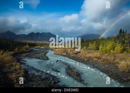 Quill Creek & the Auriol Range, St Elias Mountains, Kluane National Park, Yukon Territories, Canada - Stock Photo