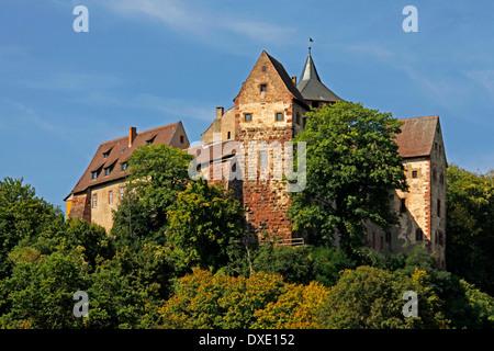 Castle Rothenfels, built about 1148, Rothenfels, district Main-Spessart-Kreis, Lower Franconia, Bavaria, Germany - Stock Photo